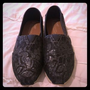 Black lace and glitter TOMS